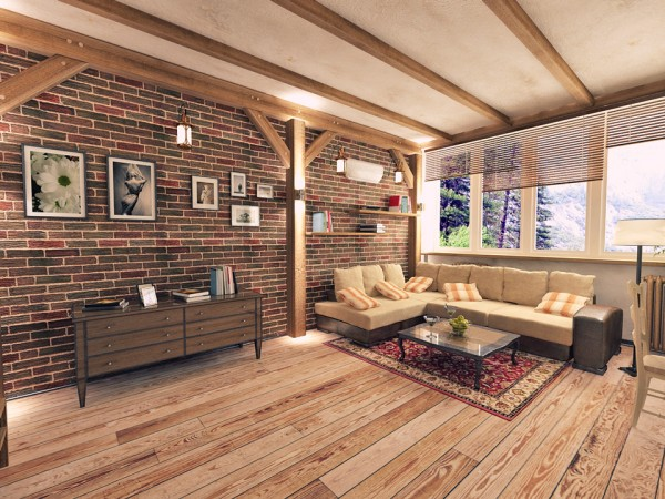 Дизайн квартиры под кирпич