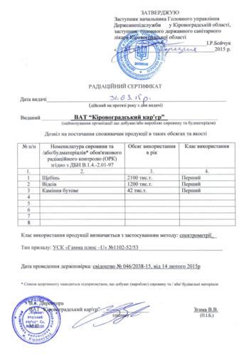 sheben granitniy kharko Radiation certificate