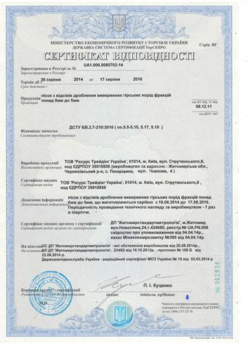 sheben granitniy otsev sertificate kharko